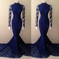 Navy Blue Lace Mermaid High Neck Prom Dress With Long ...