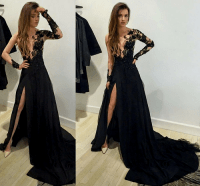 Sexy prom dress,Leg Slit prom dress, Black prom dress ...
