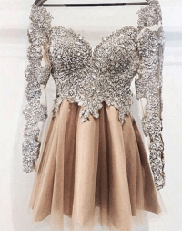 Sparkly Long Sleeves Short Prom Dresses,Handmade Beaded ...