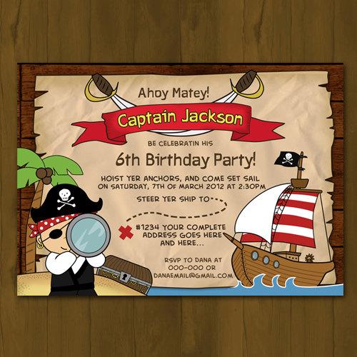 Pirate Birthday Printed Invitation - Pirate Ship Birthday Party