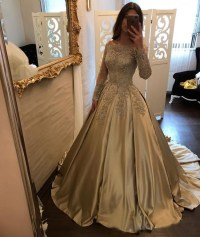 Long Sleeve Gold Lace A line Long Evening Prom Dresses