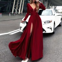 Long Sleeves Formal Evening Gown Wine Red,V Neck Prom ...