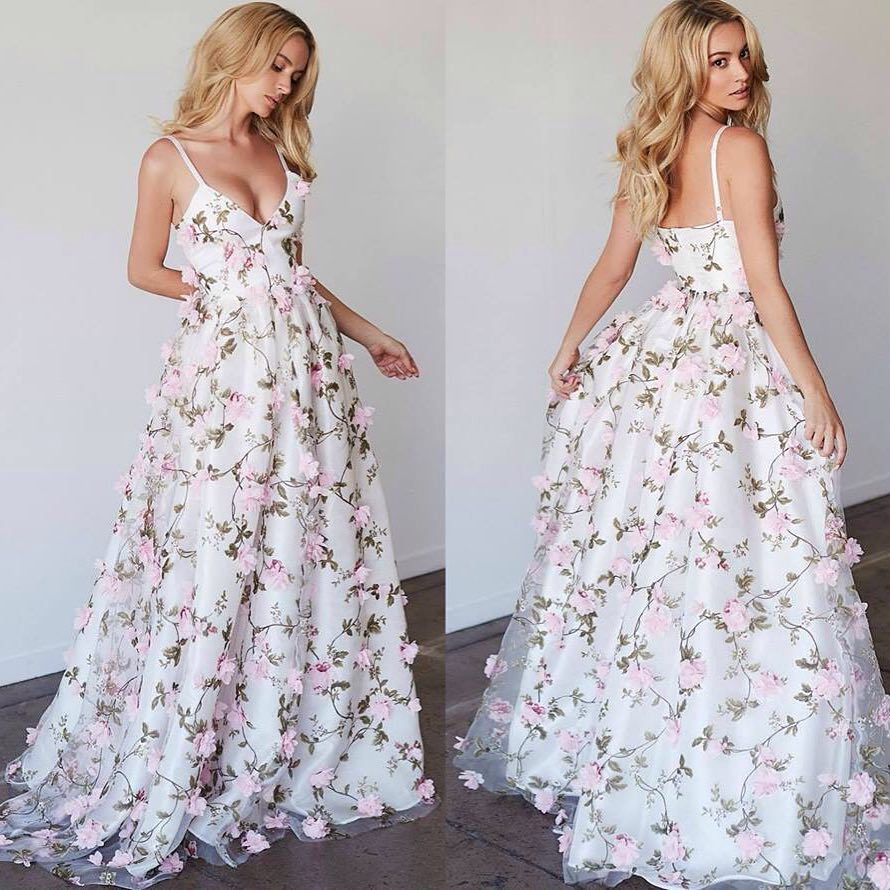 White v neck applique long prom dress, white evening dress