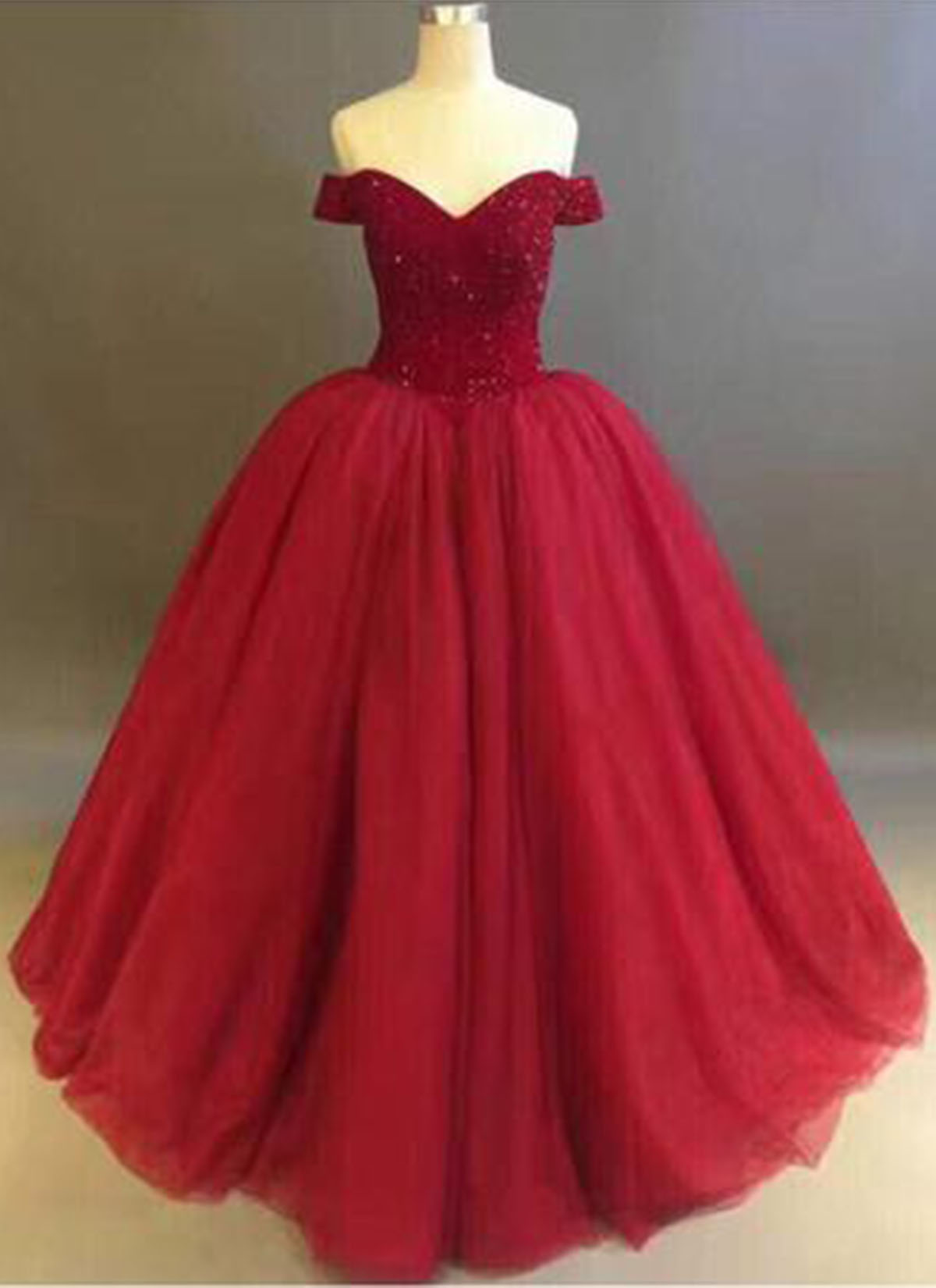 Impressive Pockets Red Tulle Strapless Length Off Shoulder Ball Long Winter Formal Cheap Prom Dresses By Sweeartdress Red Tulle Strapless Winter Ball Dresses Teens Winter Ball Dresses wedding dress Winter Ball Dresses