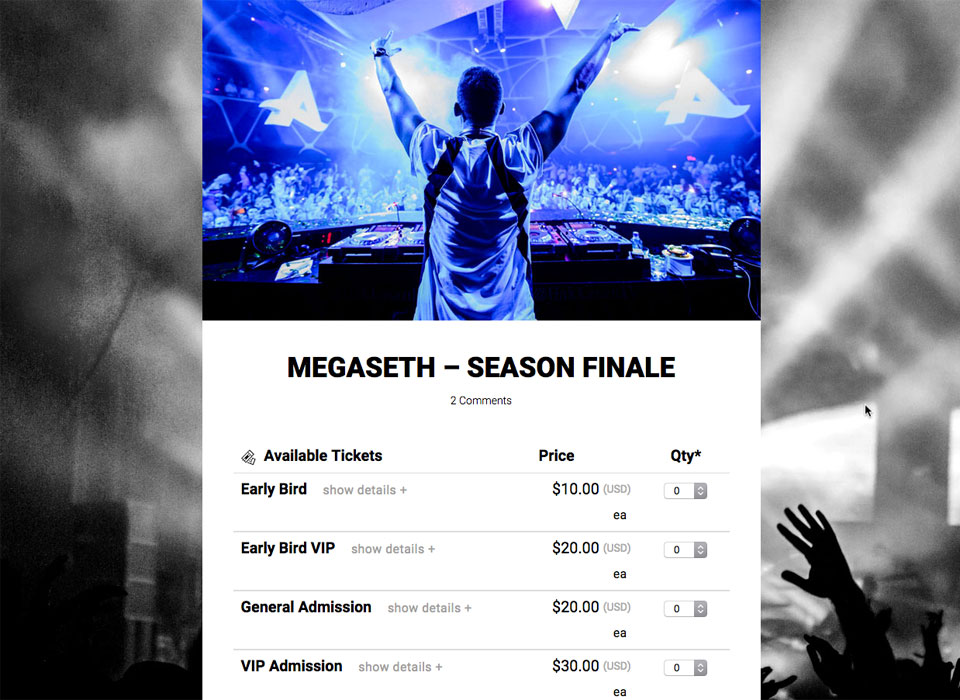 Create a concert ticketing site to sell tickets for your concerts