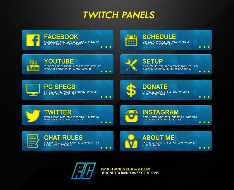 Twitch Panels 39blue Yellow Rainbowzz Creations