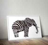 Elephant Wall Art Black and White - JF STUDIO