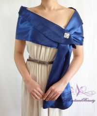 Bridal Navy Blue Silk Satin Evening Wrap Shawl