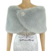 Faux Fur Wrap, Bridal Silver Faux Fur Stole, Bridal Fur ...