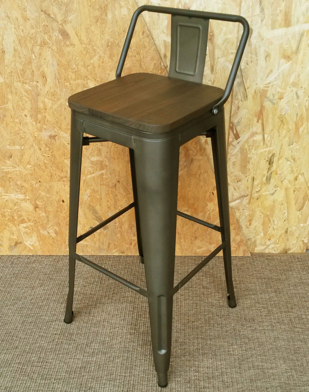 Metal Stools New Tolix Bar Stool Tarnished Metal Wooden Seat Retro French Cafe