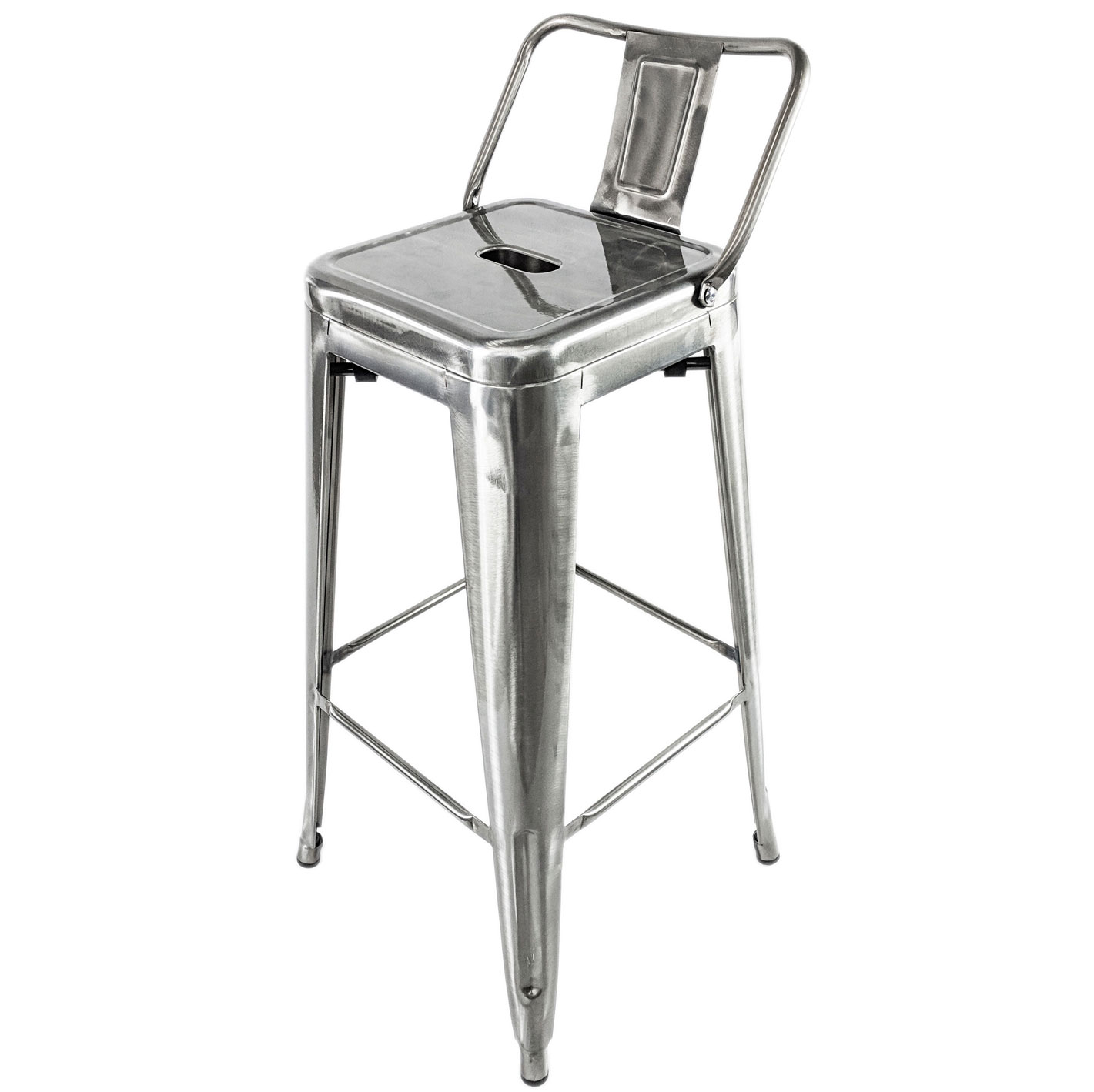 Metal Stools Tolix Brushed Steel Metal Stool Optional Back Retro French Bistro