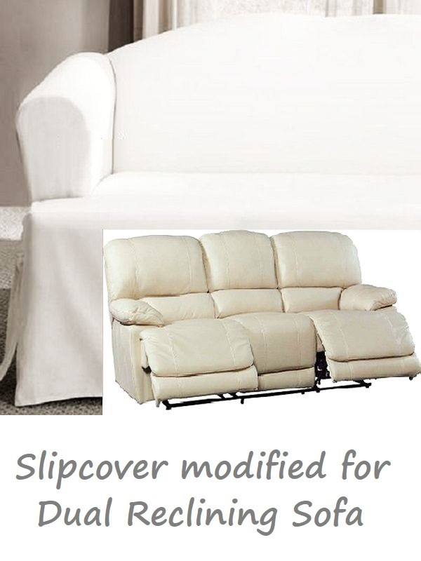 3 Cushion Slipcover Sofa Dual Reclining Sofa Slipcover T Cushion White Cotton Sure
