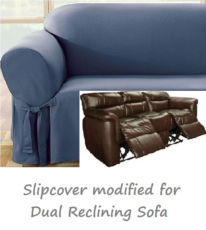 Sofa Cloud Dual Reclining Sofa Slipcover Blue Cotton Sure Fit