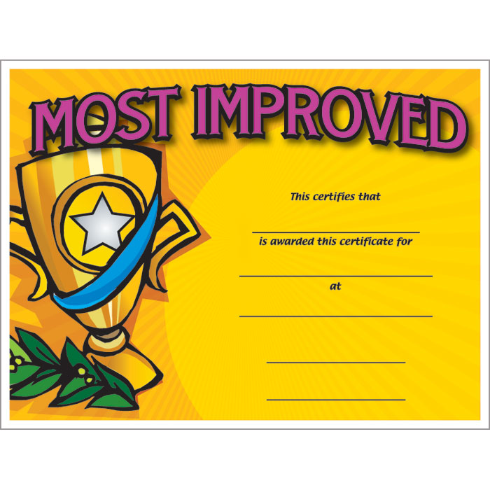 Most Improved Colorful Certificate - Jones School Supply