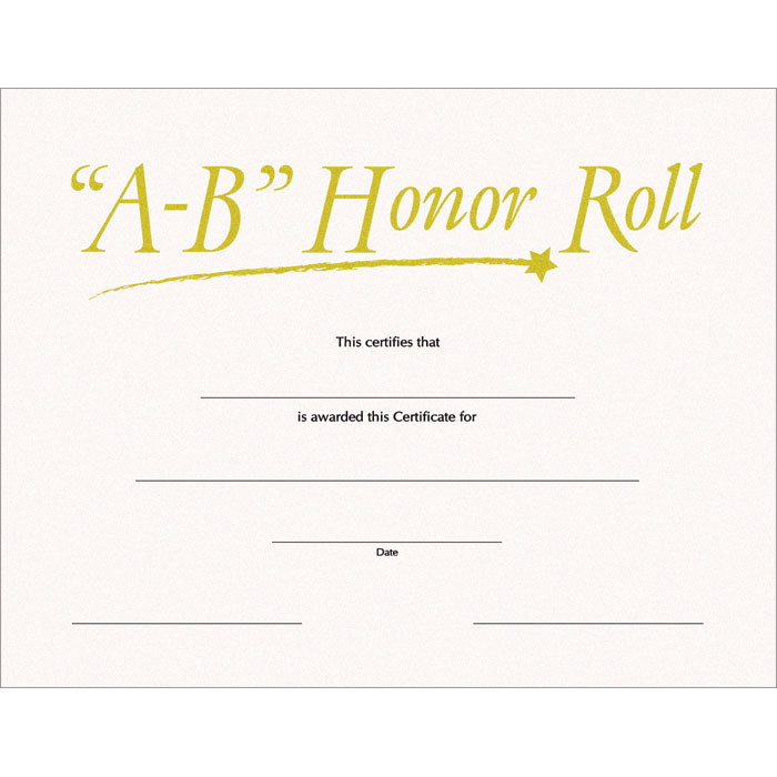 A B Honor Roll SW Certificate - Jones School Supply - free printable honor roll certificates