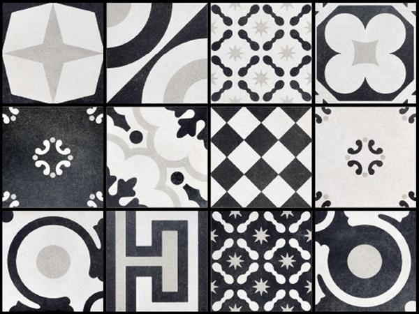 Tierra Sol Ceramic Tile - Fioranese Cementine Black  White - Canada