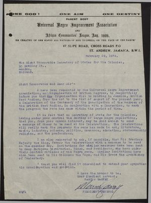 Letter from Marcus Garvey to Secretary of State for the Colonies re