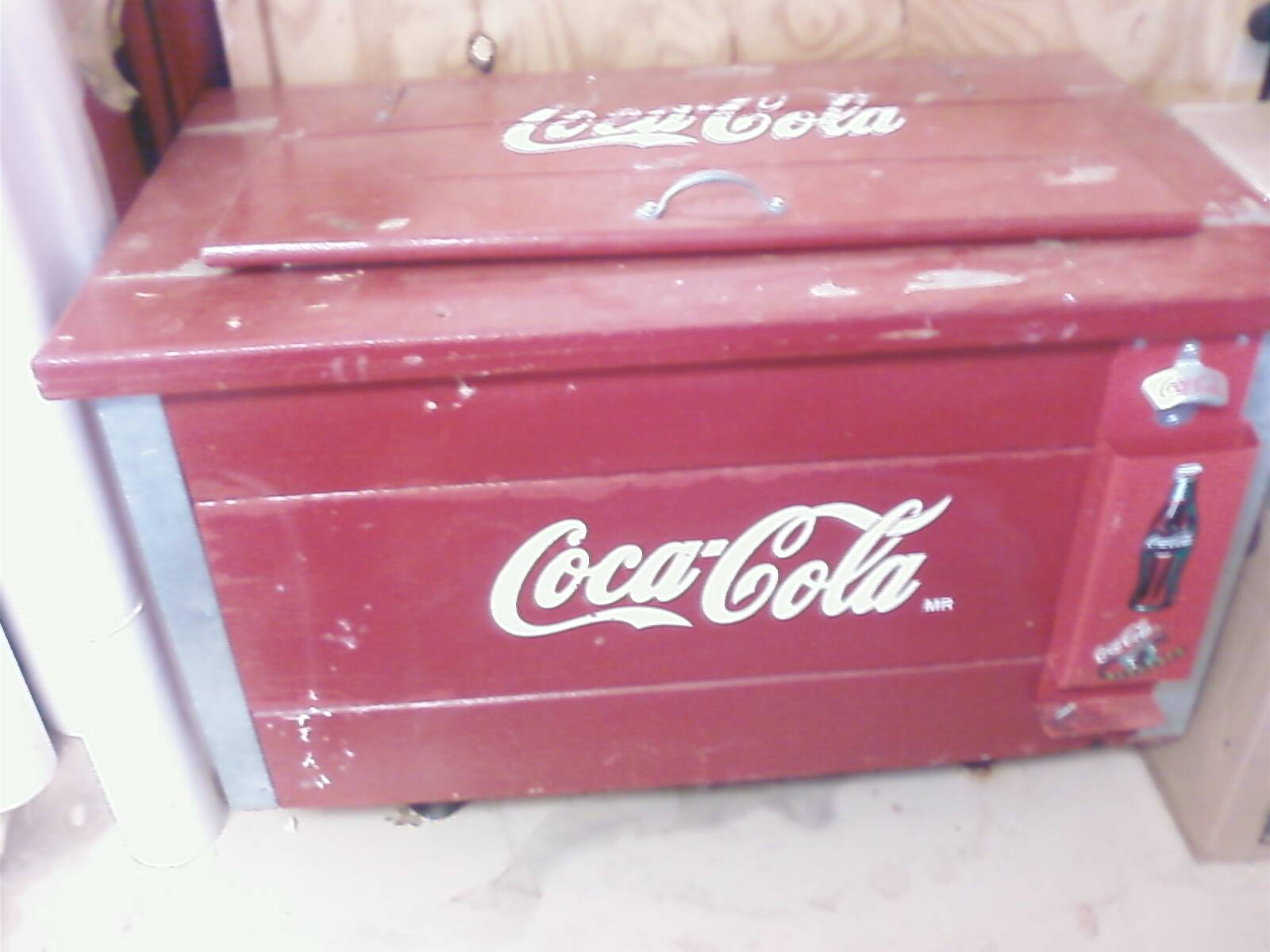 Vintage Coca Cola Wooden Ice Chest Cooler Antique