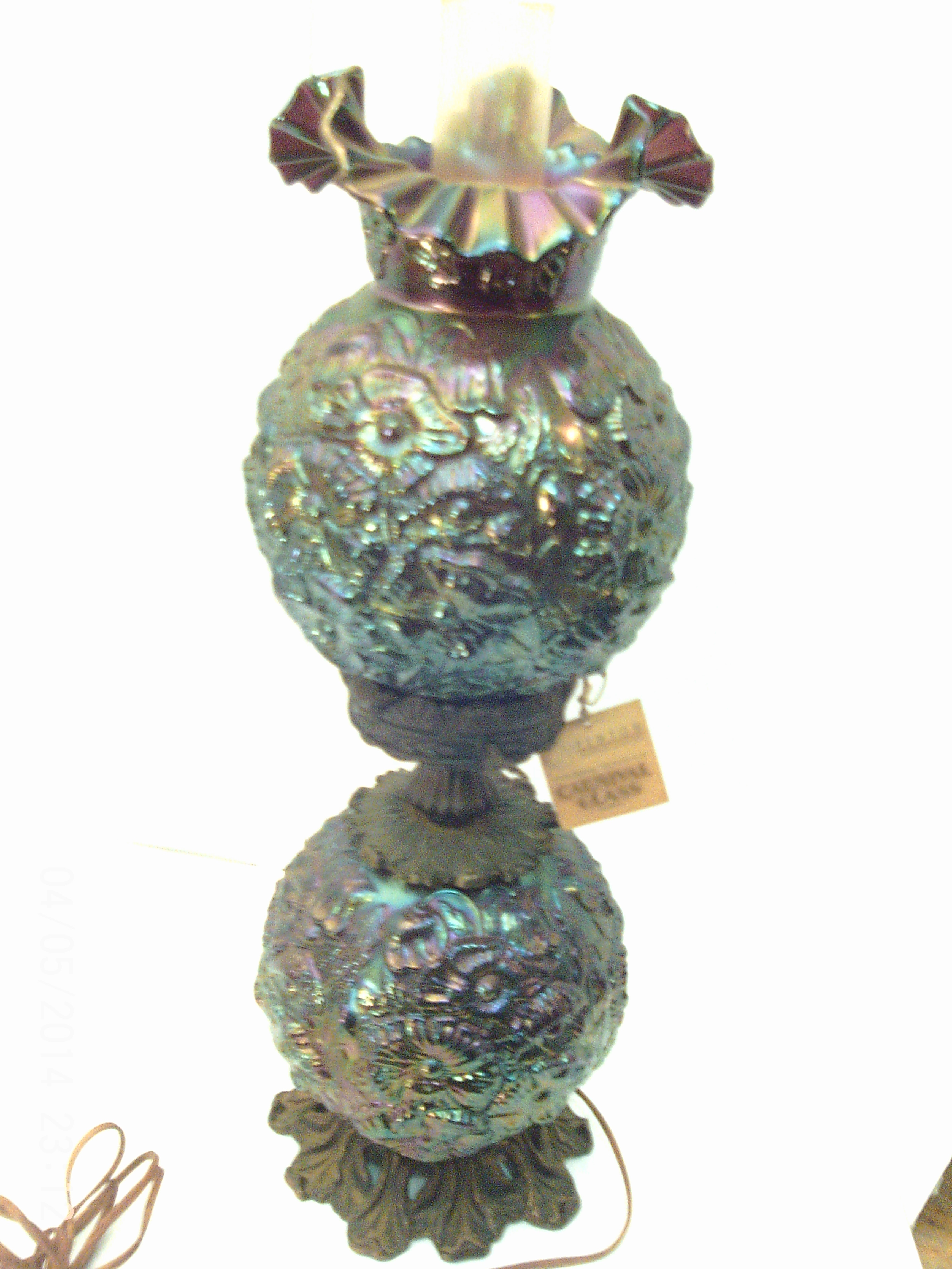 Carnival glass lamp antique appraisal