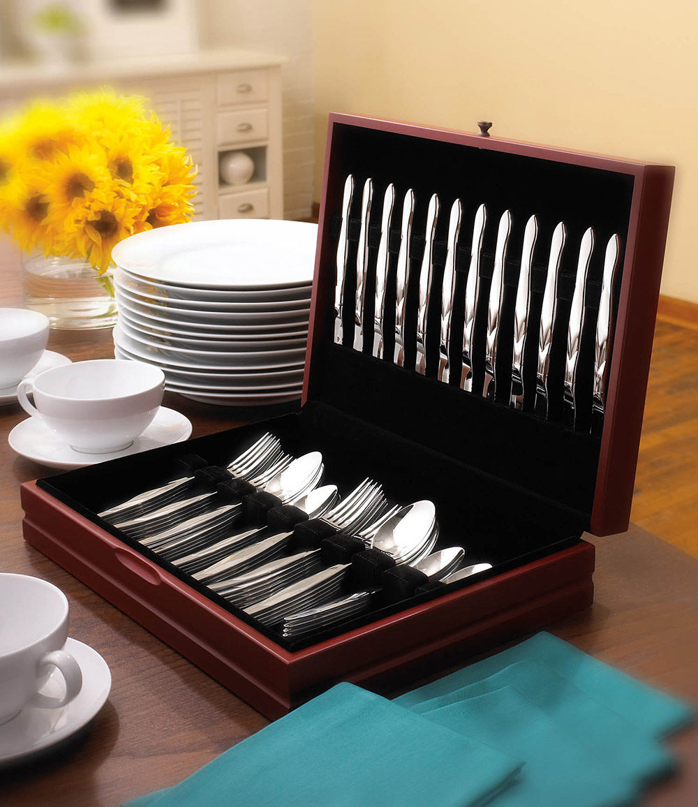 Discount Stainless Flatware 60 Pc Stainless Flatware Set In Free Chest 12 Place Settings