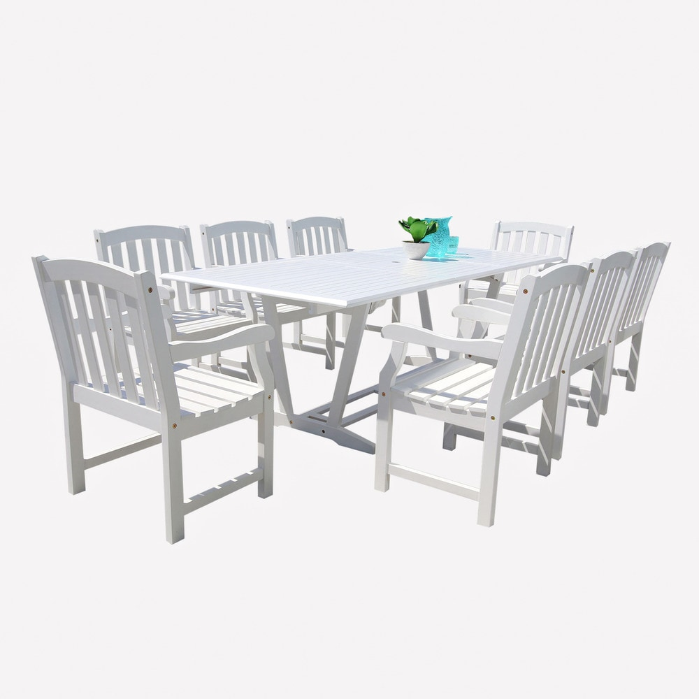 9 Piece Outdoor Dining Set Garyville 9 Piece Outdoor White Hardwood Dining Set