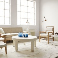 Dax Washed Linen Round Coffee Table - Mecox Gardens