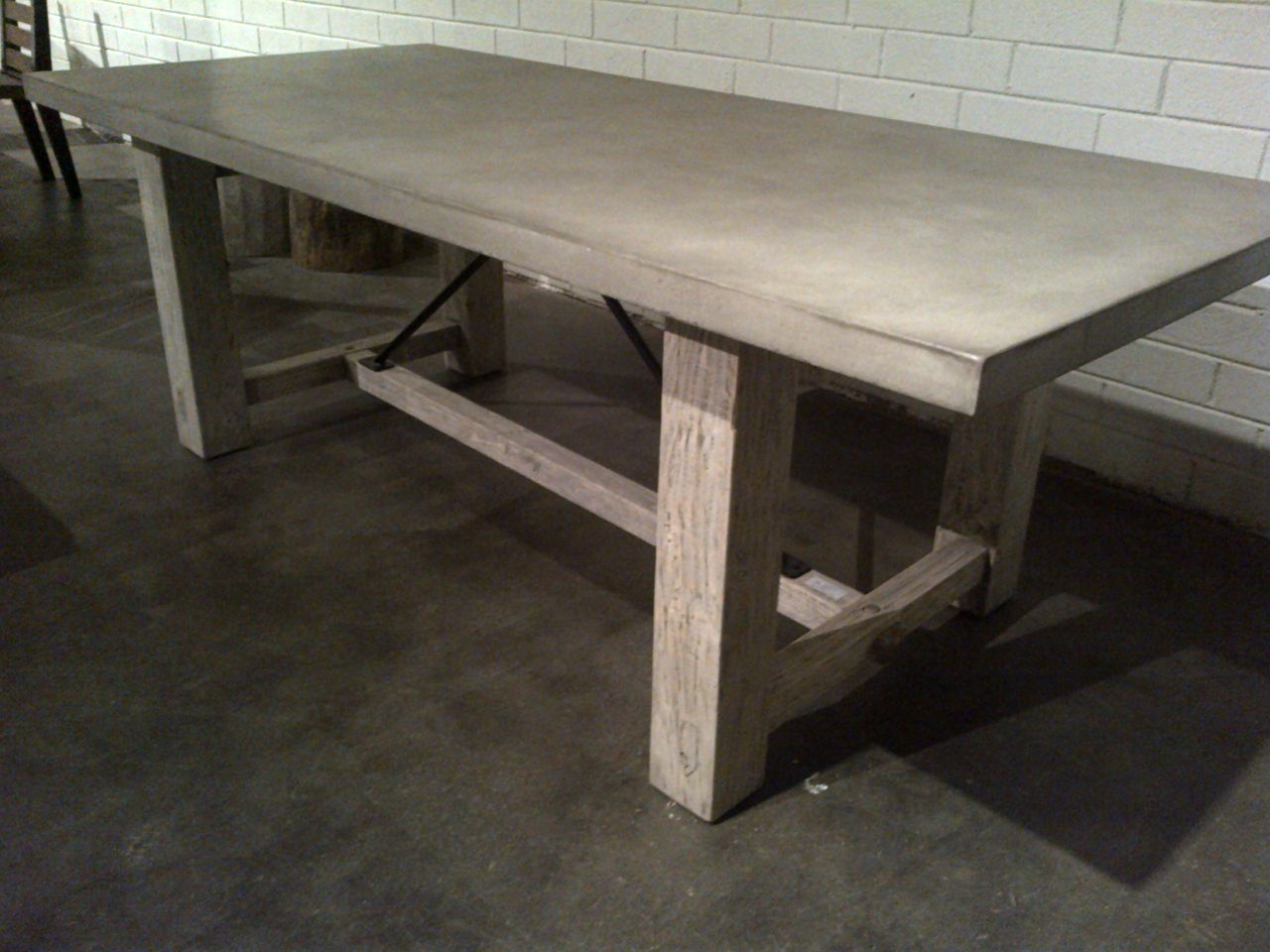 Concrete Table Top Concrete And Reclaimed Wood Rustic Farm Table Mecox Gardens