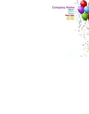 85\ - birthday letterhead