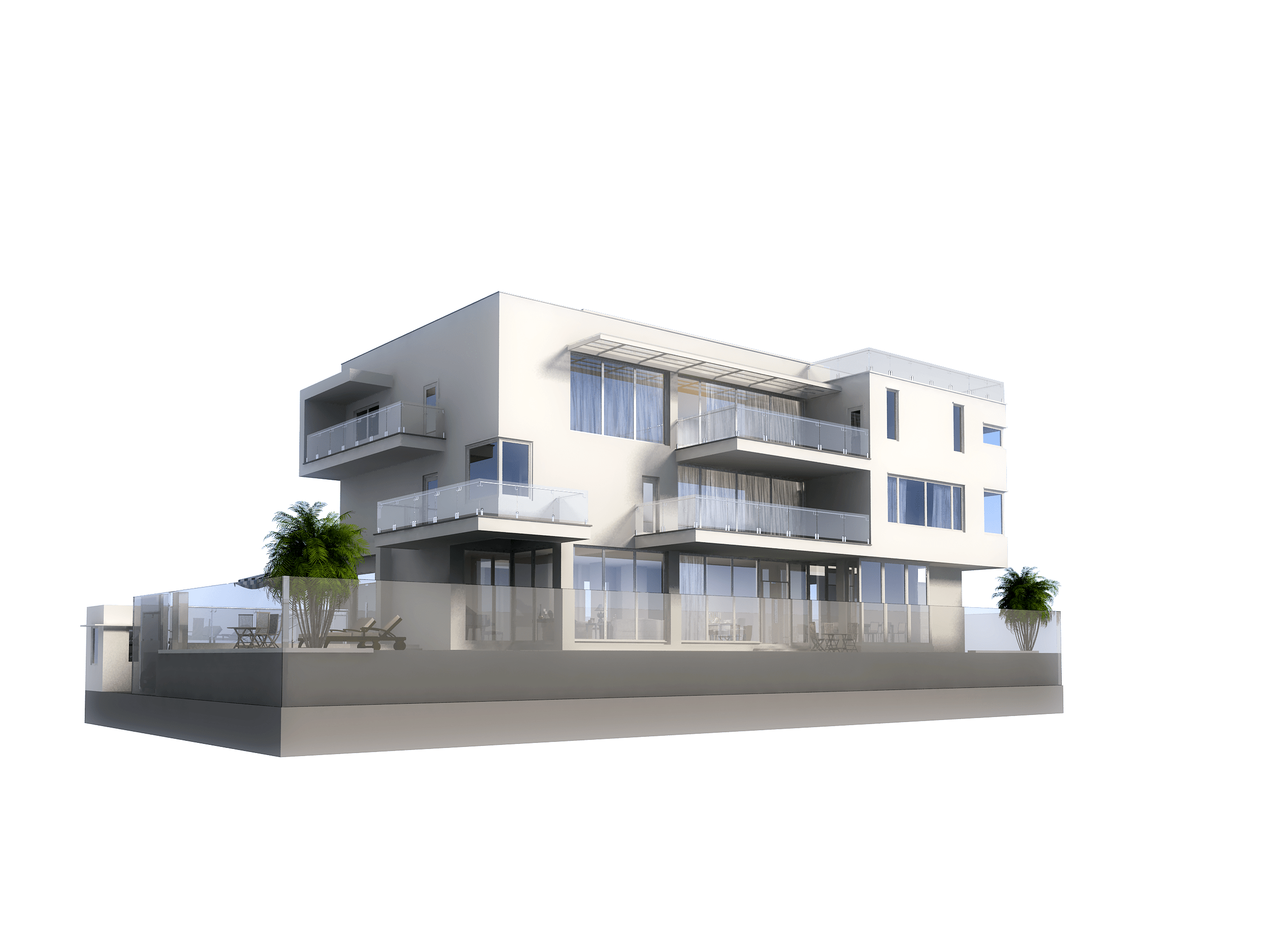 Modern Transparent 3d Model Luxury Contemporary House With Pool 3d Model