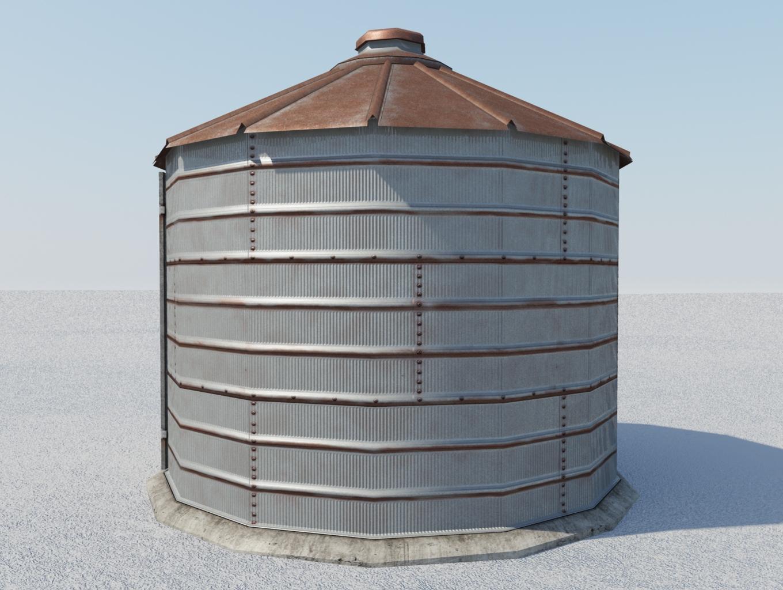 Small Old Grain Bin 3d Model