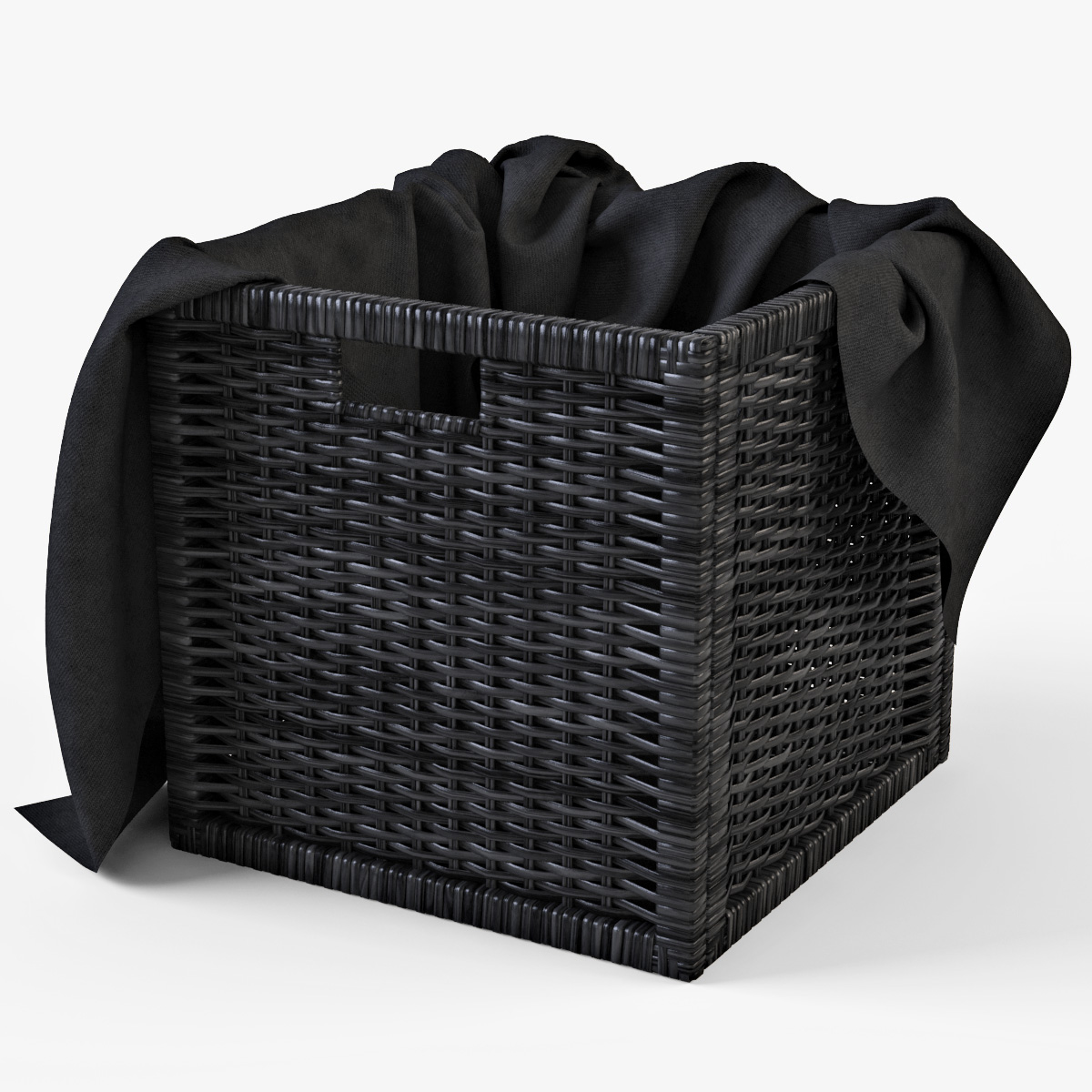 Black Wicker Hamper Rattan Basket Ikea Branas 3d Model
