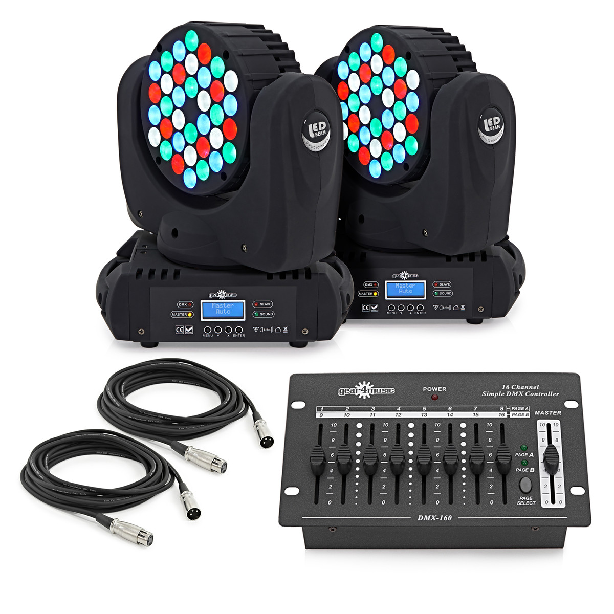 Teste Mobili Led 36 X 3w Led Moving Head Twin Pack By Gear4music