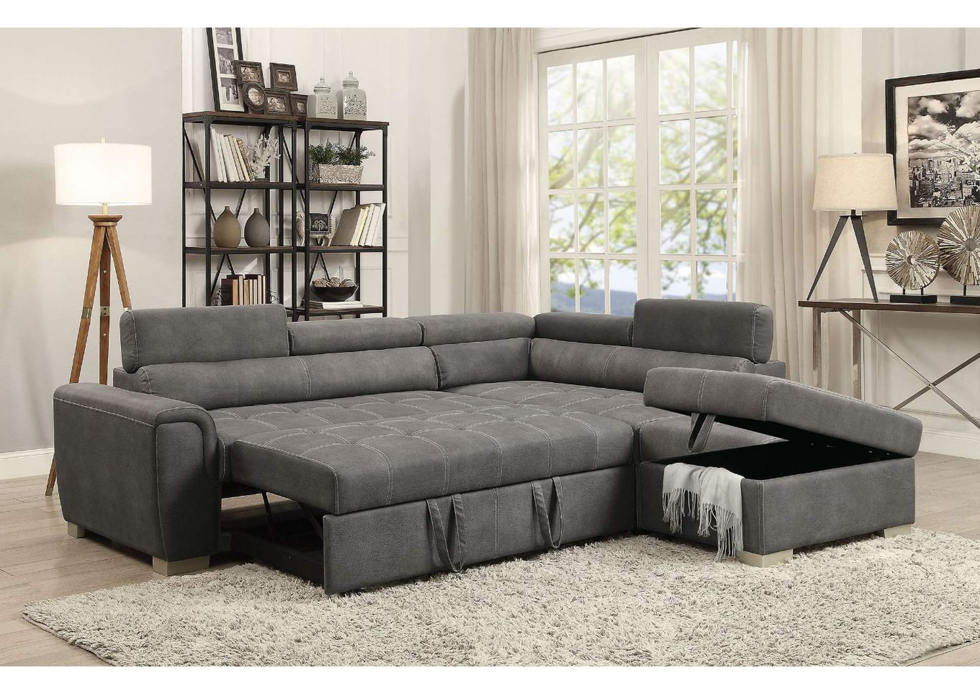 Microfiber Sectional Sofa Goree S Furniture Opelika Al Thelma Gray Microfiber Sectional
