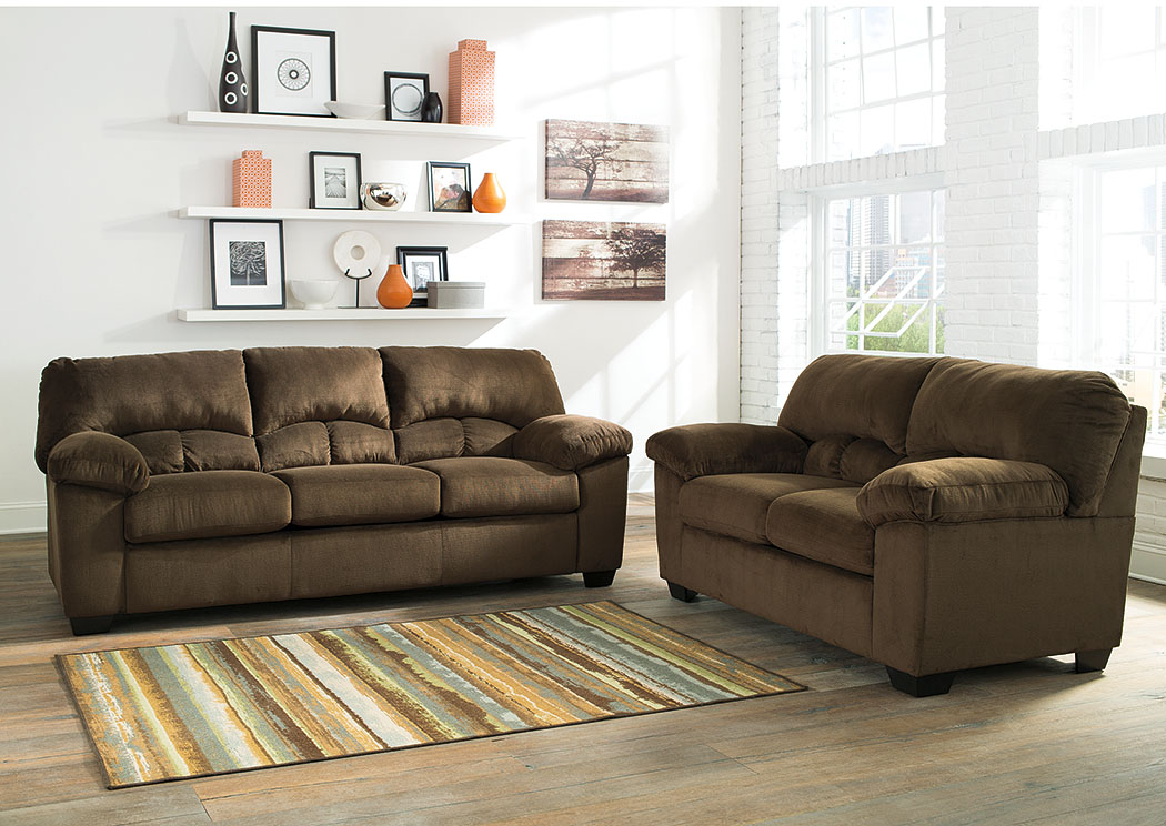 Jarons Dailey Chocolate Sofa and Loveseat - leather living room set clearance