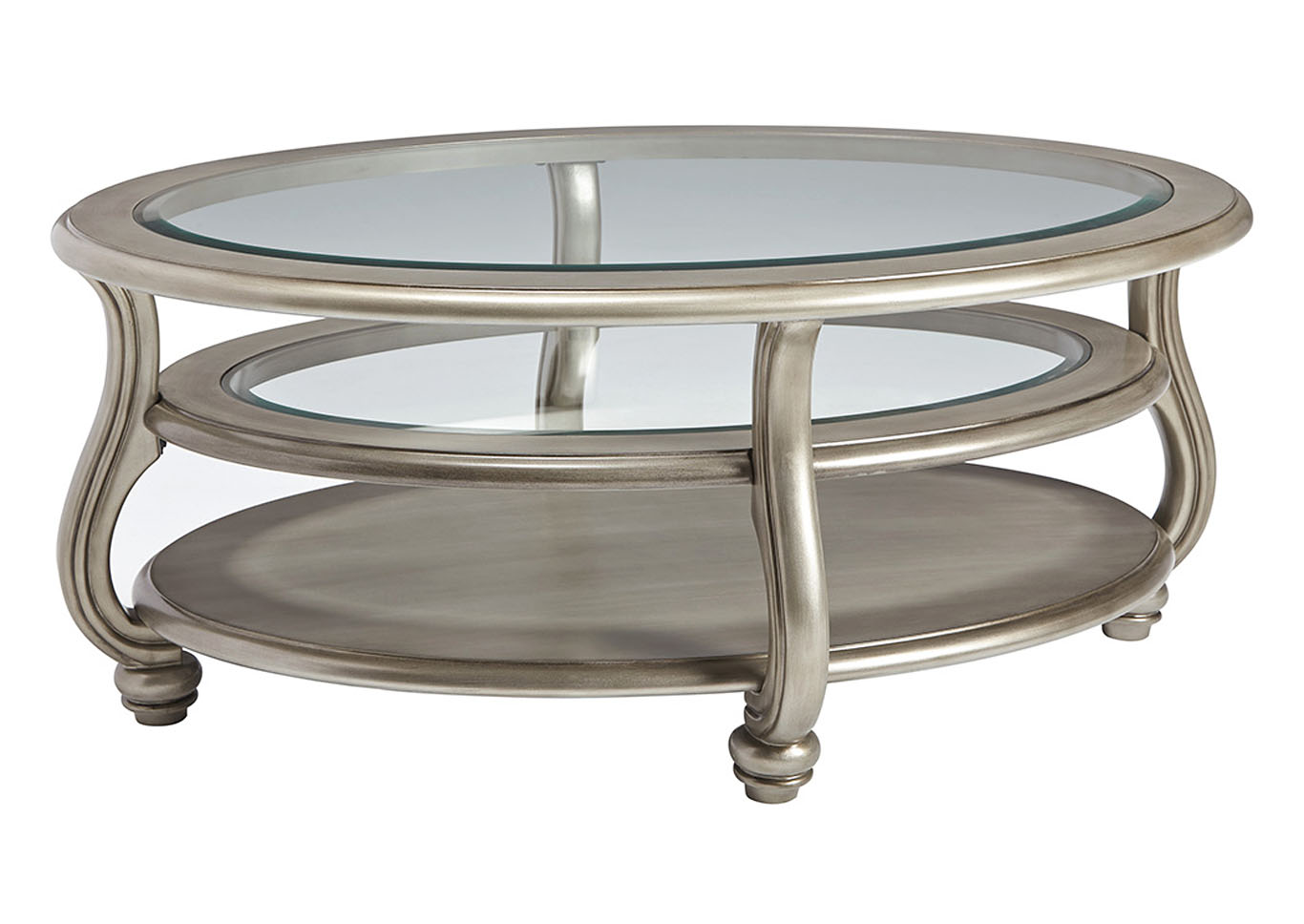 Mesas De Cocktail Mack S Furniture Warehouse Coralayne Silver Finish Oval Cocktail Table