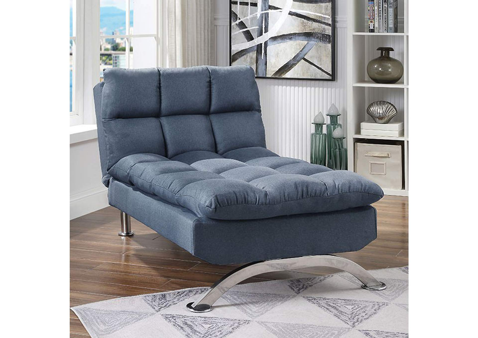 Futon Factory Factory Expo Furniture Aristo Blue Chaise