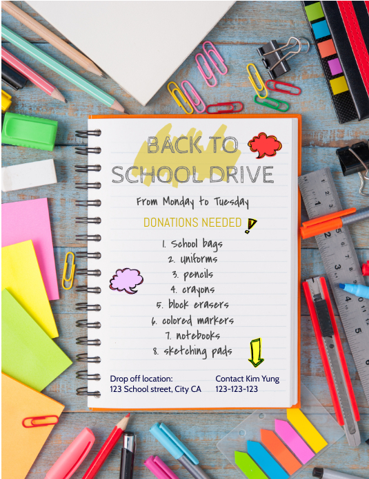 Back to school supply drive Template PosterMyWall