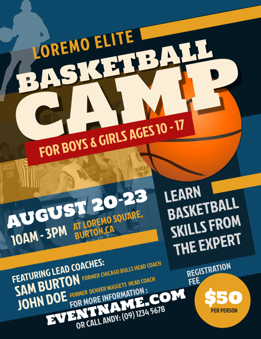 Basketball Camp Flyer Template PosterMyWall