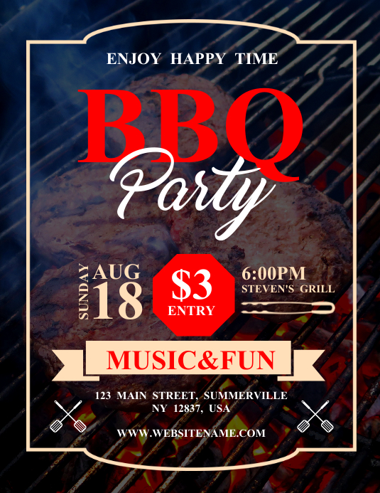 BBQ Party Flyer Template PosterMyWall