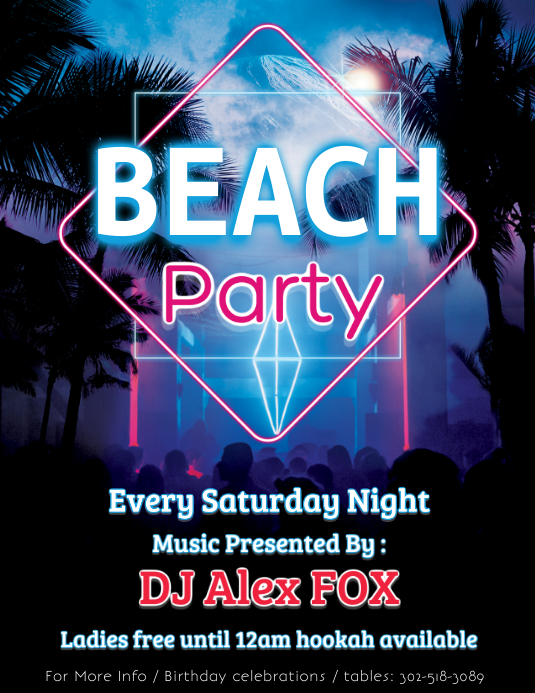 Beach Pajama Party Flyer Template PosterMyWall