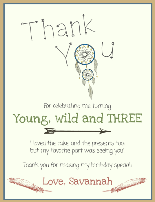 Birthday Thank You Card Template PosterMyWall
