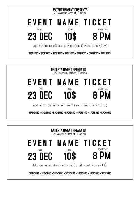 ticket size template - Maggilocustdesign - printable event tickets