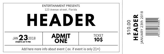 Black and white free Concert Event Ticket Template PosterMyWall