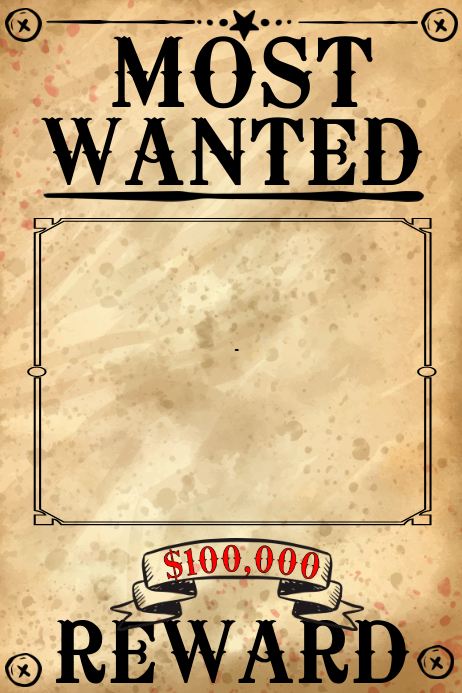 Blank Wanted Poster Template PosterMyWall