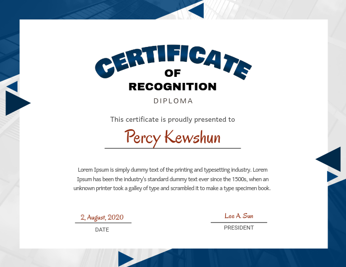 template for certificate of recognition