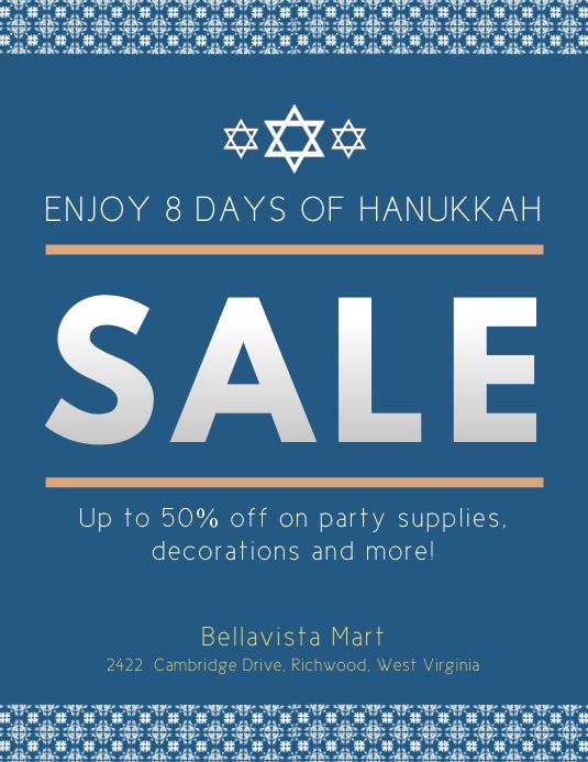 Blue Hanukkah Sale Flyer Template PosterMyWall