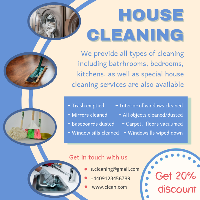 Blue Spring Cleaning Service Advertisement Sample Template