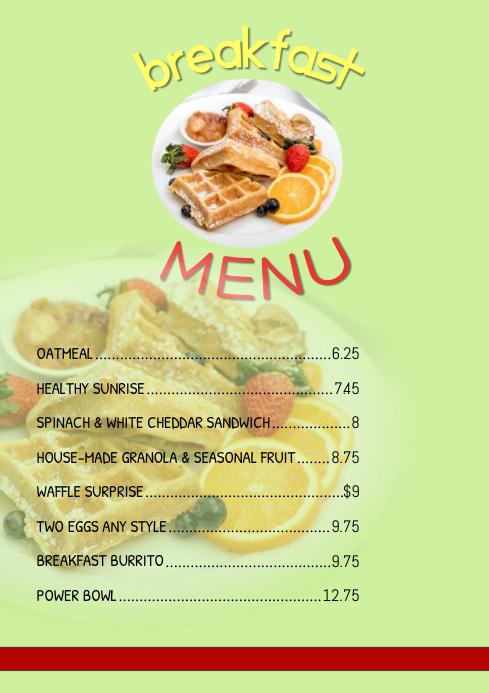 breakfast menu Template PosterMyWall