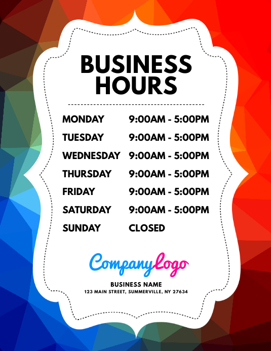 Business Hours Flyer Template PosterMyWall