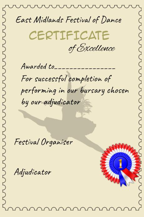 Certificate, achievement, dance, competition, performance Template